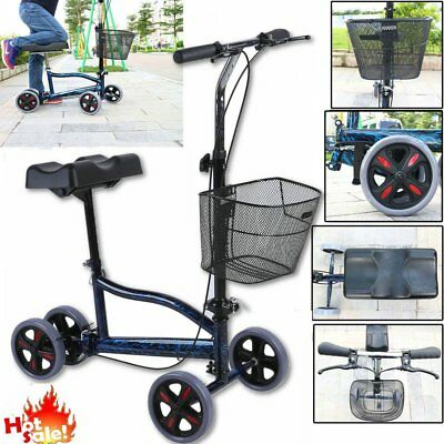 New Steerable Foldable Knee Walker Scooter Turning Brake Basket Drive Cart HM