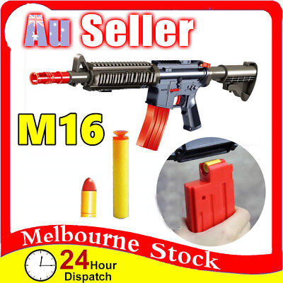 Plastic M16 Police Pistol Toy Gun Weapon Kids Boys Army Compatible soft Bullets