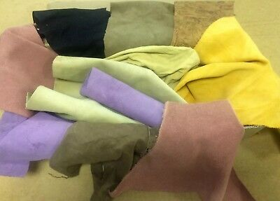 1 KG Mixed Colours of Suede, Good Size Pieces, High Quality Genuine Leather