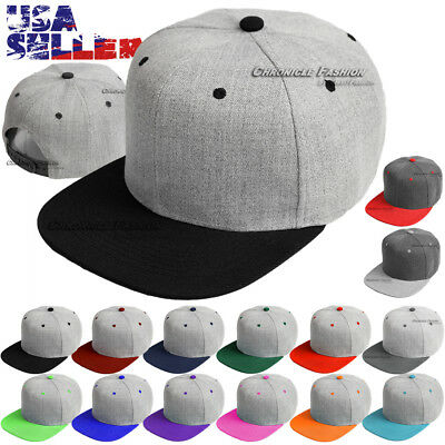 86919b754af15 Baseball Cap Snapback Hat Flat Bill Blank Plain Solid Adjustable Men Caps  Hats