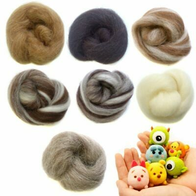 7 Colors Natural Wool Needlefelting Top Roving Dyed Spinning Wet Felting Fiber