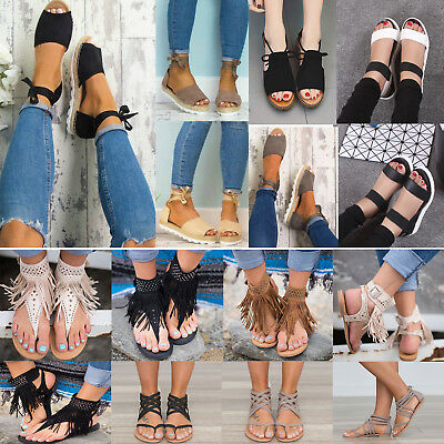 Womens Sandals Flat Wedge Heel Strap Espadrilles Peep Toe Beach Flip Flops Shoes