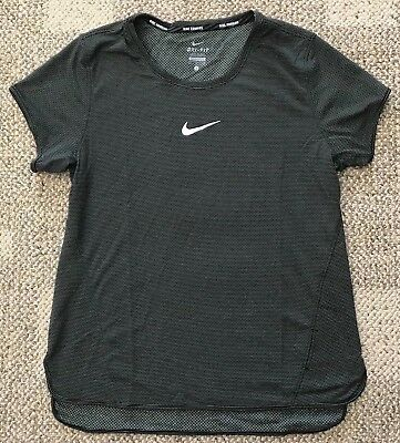 Nike Aeroreact Short Sleeve Running Shirt Black Womens Size Large L 920778-010