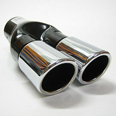 Universal Sport  Double Dual Twin Exhaust Tip Pipe Trim Tail Muffler Chrome