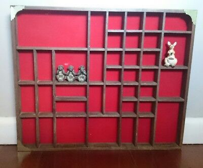 Vintage Wooden Shadow Box Wall Hanging Miniature Display Ornaments Red lined