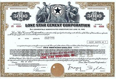Lone Star Cement Corporation, 1972, 5  1/8% Debenture due 1993 (5.000 $)