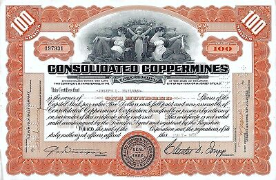 Consolidated Coppermines Corporation, 1958 (100 Shares)