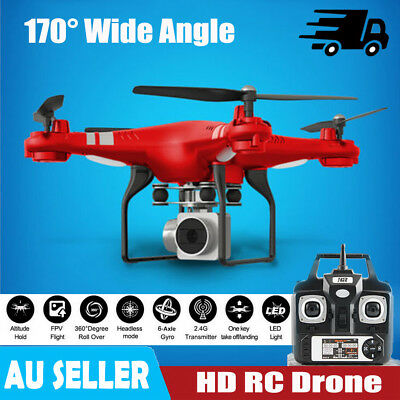 1080P 170° Wide Angle Lens HD Camera Quadcopter RC Drone WiFi FPV Helicopter AU