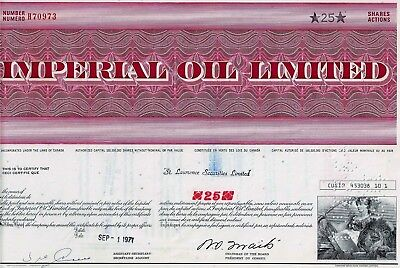CANADA: Imperial Oil Limited, 1971 (25 Shares)