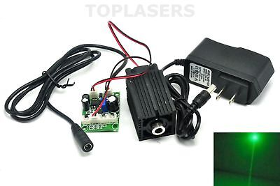 Focusable 80mW 532nm Green Dot Laser Diode Module w 12V Adapter Power