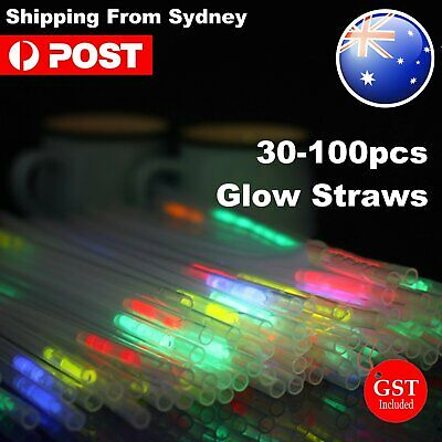 30-1000x Glow Straw Straws Light Up Party Glow in the Dark Drinking Wedding bulk