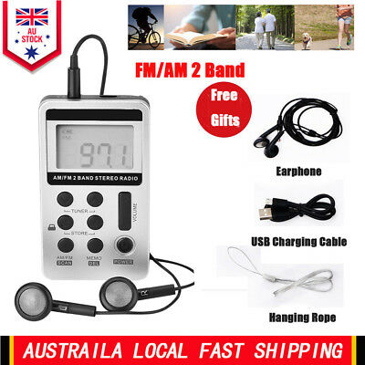 Handheld LCD Receiver Digital Pocket AM FM Radio Player w/ Rechargeable Battery