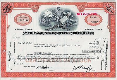 American District Telegraph Company (ADT), New Jersey, 1974  (15.000 Shares) !!