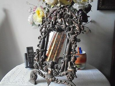 Antique Cast Iron Frame On Stand With Mirror And Cherubs -Reg.no.553836