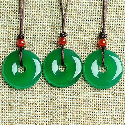 Quality Chinese Lucky Natural Jade Hand-Carved Buckle Pendant Necklace Gift!
