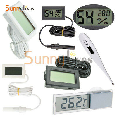 Black/White Aquarium Temperature Gauge LCD Digital Thermomer For FIish Tank