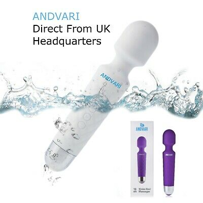 Body Wand Massager  ANDVARI Cordless Waterproof Powerful 18 Speed Vibrations UK