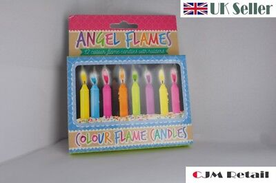 12 Birthday Candles Angel Flames Magic Neon Coloured Cake Party Celebration