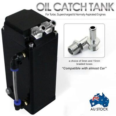 JDM Alloy Black 1L Oil Catch Tank Can with 9mm or 15mm Fitting (Complete Kit)