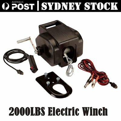 12V 2000LBS / 907kg Detachable Portable Electric Winch Marine Boat 4WD ATV Truck