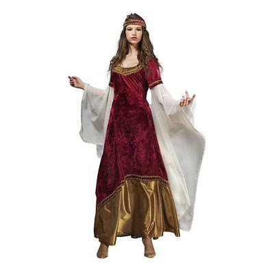 Mystica Princess Costume Women Elf Garment Medieval Dress Red Gold