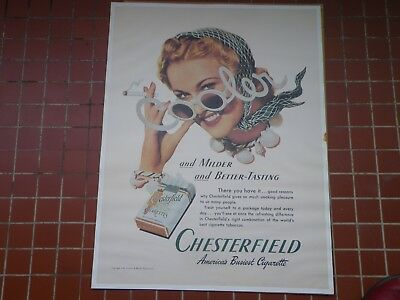 Cooler Sunglasses Tobacco Chesterfield Fashion 1940 Pin-Up Lithographie  Poster