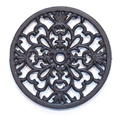 Round Cast Iron Trivet Tea Pot Sauce Pan Stand 160mm Antique Style top protector