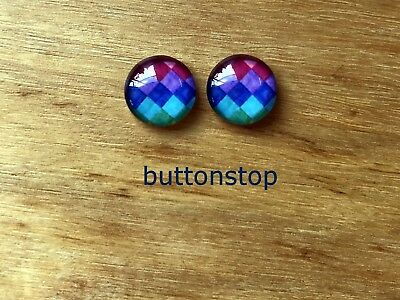 2 x 12mm glass dome cabochons - colourful diamond pattern