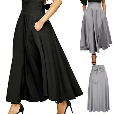 Fashion Women High Waist Pleated A Line Long Skirt Front Slit Belted Maxi Skirt