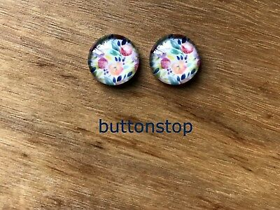 2 x 12mm glass dome cabochons - pretty floral