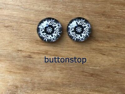 2 x 12mm glass dome cabochons - black & white mosaic