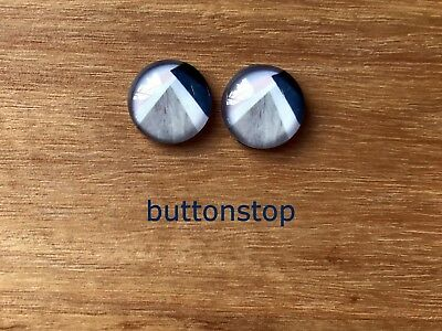 2 x 12mm glass dome cabochons - pale pink, denim & white with grey woodgrain