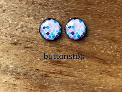 2 x 12mm glass dome cabochons - pastel mosaic