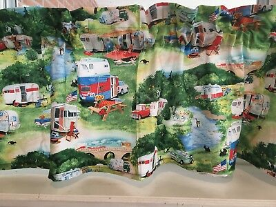 NEW RETRO VINTAGE Old Camping Cars Campers Trailers Travel Valance Curtain