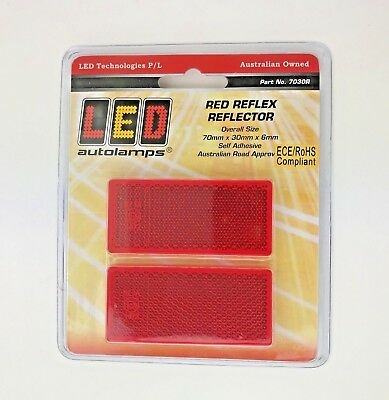 2 x Red Rectangle Reflectors 70 x 30 x 6mm Self Adhesive Trailer Caravan Truck