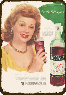 1948 ROMA RED WINE Vintage Look REPLICA METAL SIGN - LUCILLE BALL - I LOVE LUCY