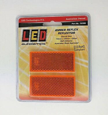 4 Amber Orange Rectangular Reflectors 70 x 30 x6mm Self Adhesive Trailer Caravan