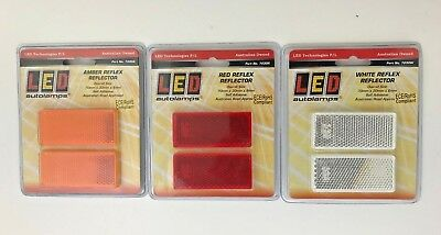 70mm x 30mm Self Adhesive Reflectors Metal Fence Post & Trailers White Red Amber