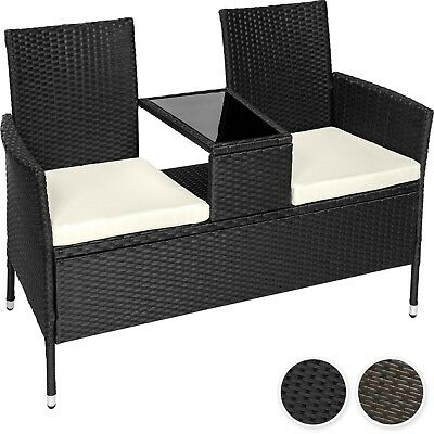 Poly rattan bench with glass table garden furniture 2 seats wicker patio