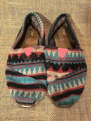 Women Flats TOM'S Classic South Western Aztec Navajo Moccasins Slip On Size 7 M