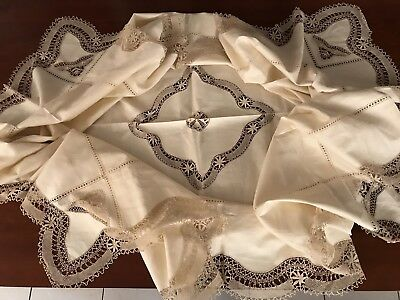 Vintage Unused Drawn Work Needlework Lace Cream Linen Tablecloth 63X92 Inches