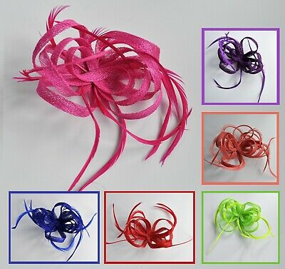 Sinamay loops & feather wedding fascinator hair clip. Lime, cerise hot pink +