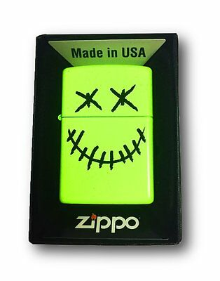 Zippo Custom Lighter Stitched Skull Face Neon Yellow Finish Pocket New