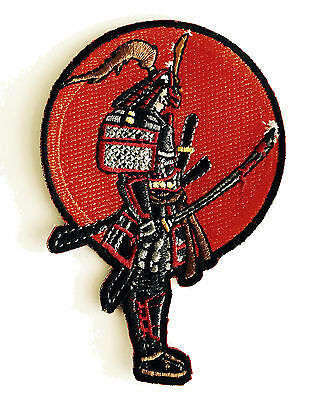 Japanese Warrior Samurai with Bloody Sword Iron on Embroidered Patch On Jacket