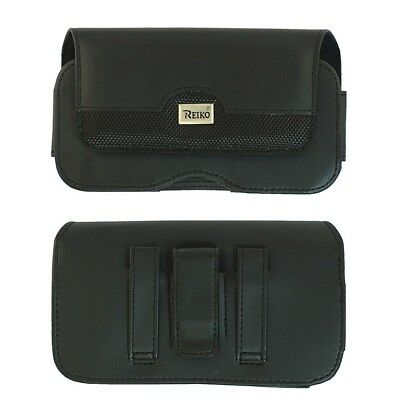 REIKO Horizontal Leather Case Wallet Pouch Belt Clip for Cell Phones