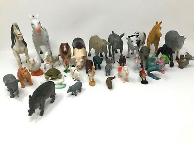 Vintage Farm & Wild Plastic Rubber Animal Toy Figures Lot 32 Bagged Small Large