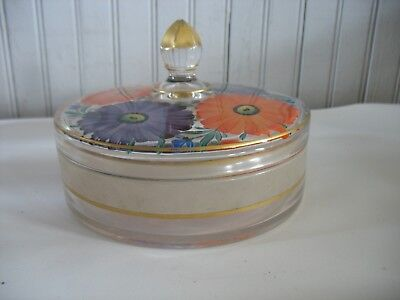 Vintage Art Deco handpainted round jewelry trinket powder vanity box Flowers