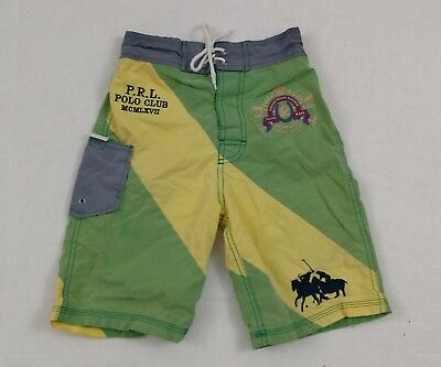 Vintage Polo Ralph Lauren Rugby Shield Pony Shorts Swim Trunks Boys Youth Size 6