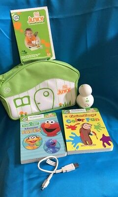 LEAP FROG TAG JR LOT Of Green Reader, 2 Books ,A Cord, Carry Case & Instruction