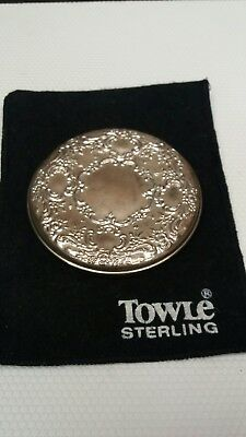 Beautiful Old Towle Sterling Silver Ladies Pocket Mirror With Pouch No Mono